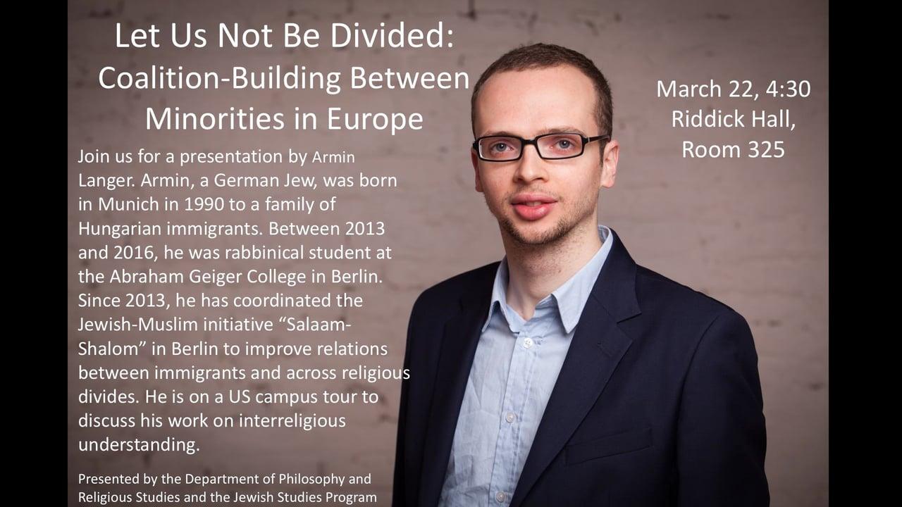 Armin Langer: Salaam-Shalom: Idee und Praxis lokaler Verständigung zwischen Juden und Muslimen @ Universitätsgästehaus